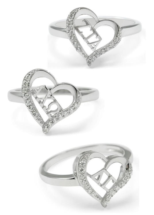 Sorority Heart Ring w/ Simulated Diamonds