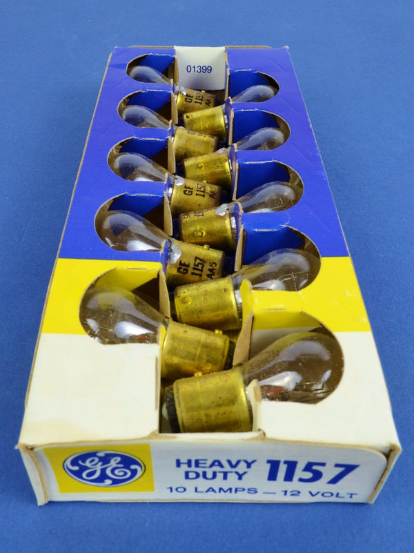 GE 1157 HD 12V Park & Turn Light Bulbs, Box of 10, New Old Stock