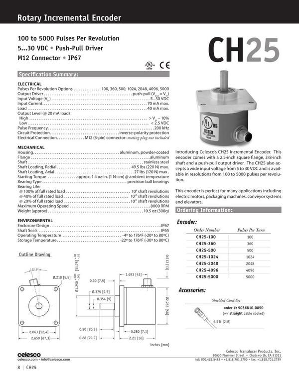 Celesco CH25 Catalog Page