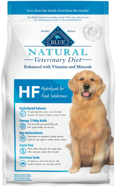 Blue Natural Veterinary Diets by Blue Buffalo HF Hydrolyzed for Food Intolerance Dry Dog Food (6 lb)