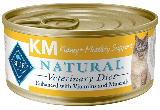 Blue Natural Veterinary Diet KM Kidney + Mobility Support Canned Cat Food (24/5.5 oz Cans)
