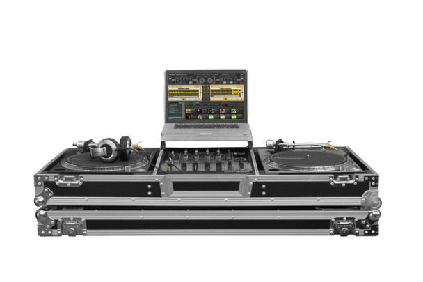 """Low Profile Glide Style DJ Coffin W/Whls for A 12"""" Mixer & Two Turntables in Battle Position"""
