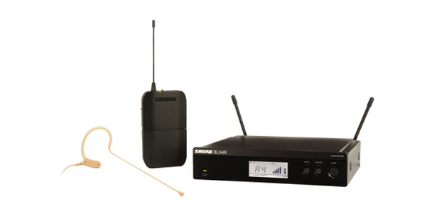 Shure Headset System with (1) BLX4R Wireless Receiver, (1) BLX1 Bodypack Transmitter, and (1) MX153 Headset Microphone