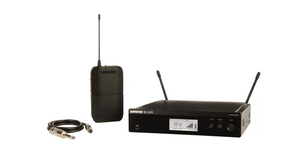Shure Guitar Wireless System with (1) BLX4RWireless Receiver, (1) BLX1 Bodypack Transmitter, and (1) WA302 Instrument Cable