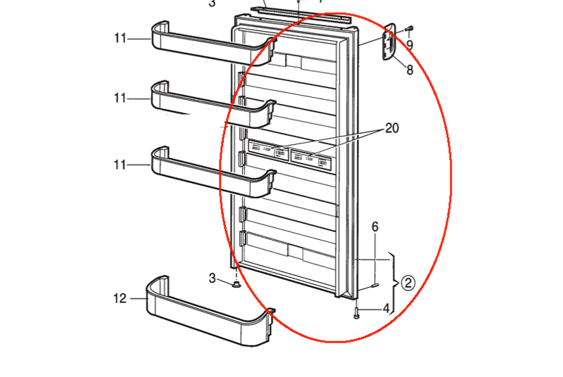 Dometic Lower Refrigerator Door RH 2932562065