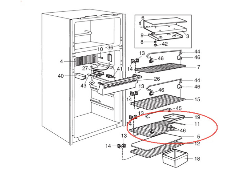Dometic Refrigerator Middle  Cut-Out Shelf 2930133141