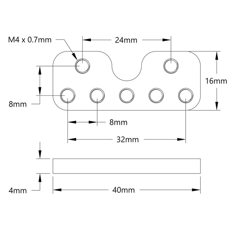 1225 Series Flat Mount for V-Groove Bearings (1-1) - 2 Pack