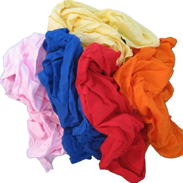 Coloured Soft Knit T-Shirt Rags - 4 Bags - 60 Kg Total