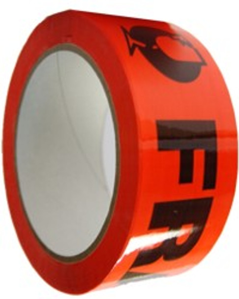 "Packing Tape - ""FRAGILE"" - 48 mm x 66 m - 47 Um - Red - 36/Carton"