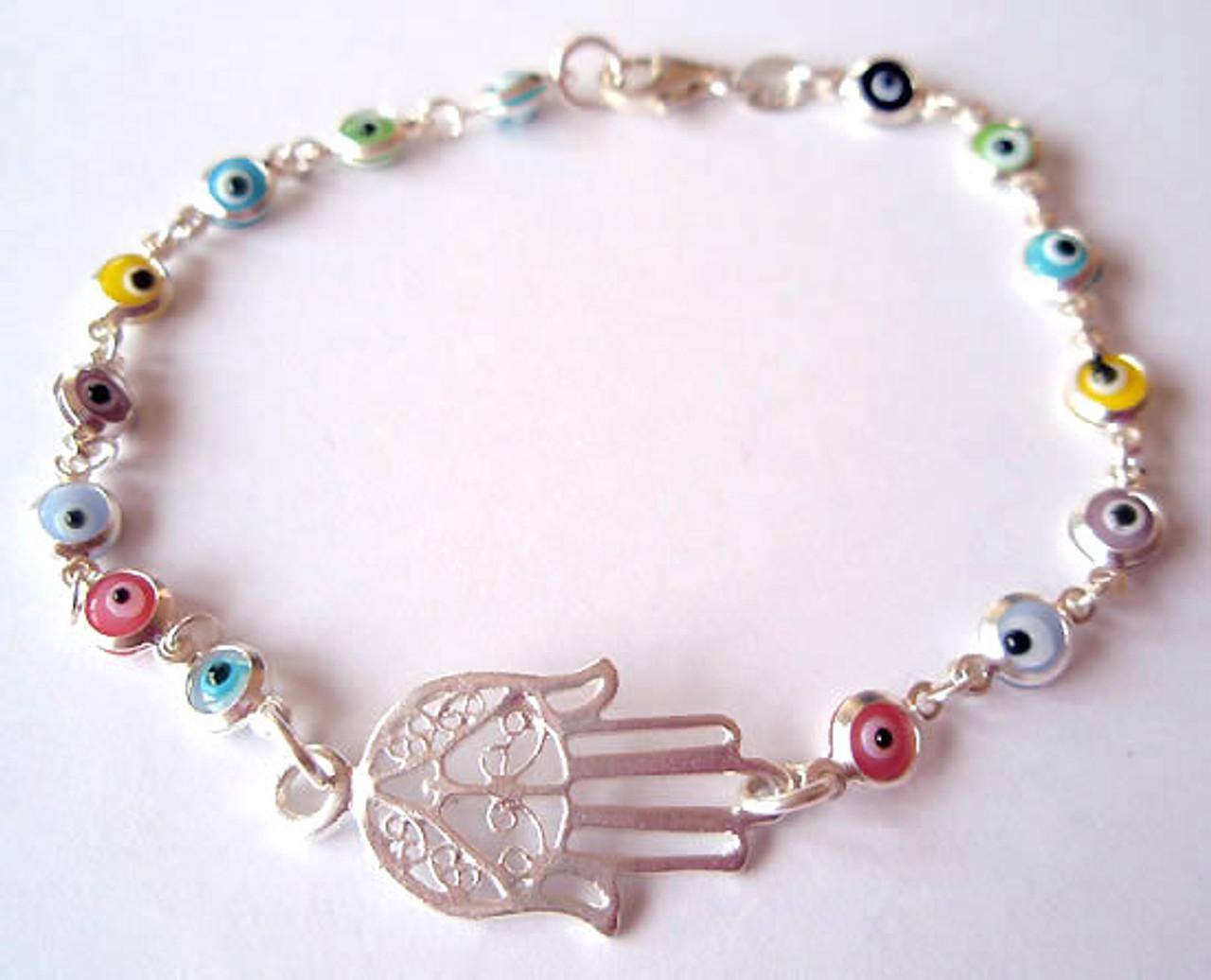 Silver Hamsa Hand Bracelet With Evil Eyes