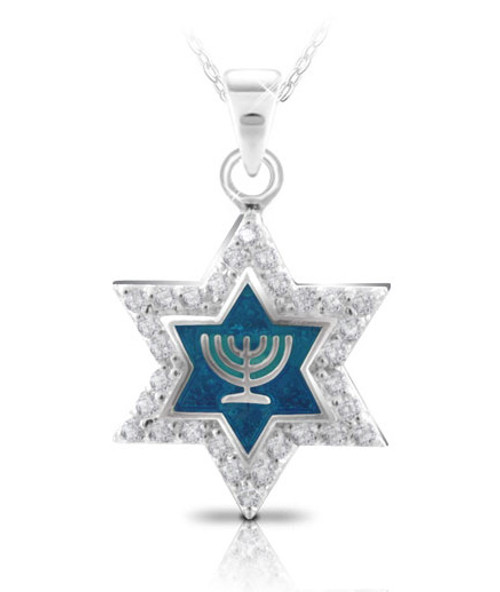 Silver And Cz Star Of David Pendant With Menorah