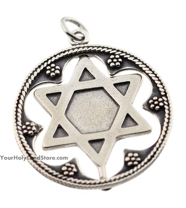 Silver star of david shema yisrael pendant aloadofball Image collections