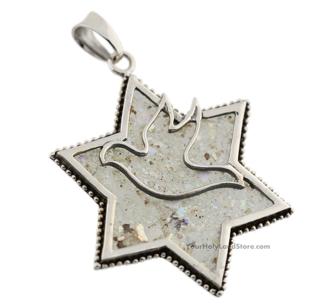 Silver and roman glass star of david dove pendant yourholylandstore silver and roman glass star of david dove pendant mozeypictures Choice Image