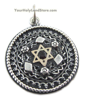 Silver and gold star of david filigree pendant with garnet mozeypictures Images