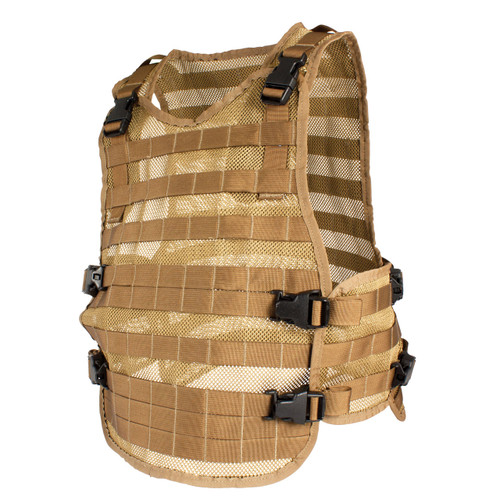 Mesh MOLLE Vest - Coyote with extension panels