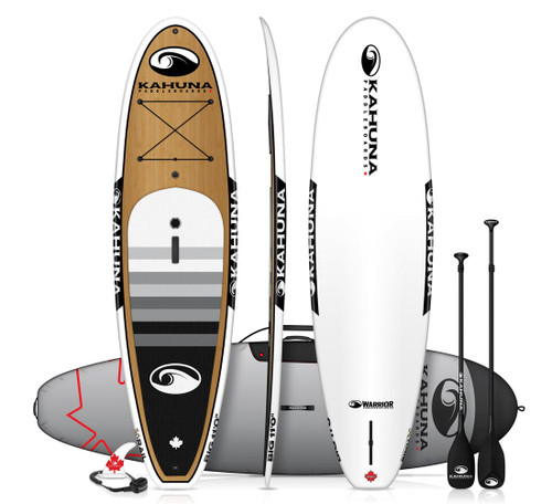 KAHUNA WARRIOR BIG 11' BAMBOO SUP  W/PADDLE, BAG AND LEASH (2018)