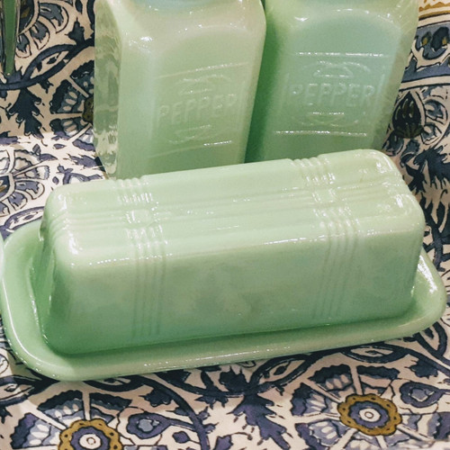 Jade Green Glass Butter Dish