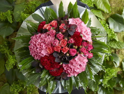 Deep burgundy cotinus foliage weaves its way between groupings of our favourite hot pink spray roses, celosia and cloud-like hydrangeas forming 'Scarlet Macaw' – a dramatically romantic bouquet.