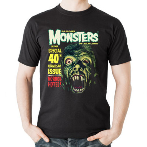 Famous Monsters Horror Hotel Tee Front View