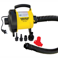 This is the best performing 120 volt air pump available, inflating and deflating at unprecedented speed. Peak pressure is nearly 3.0 psi, plenty of pressure to get boats, dinghys, rafts and reinforced backyard items nice and firm. Seven universal adapters are provided to fit all valves commonly used on boats, kayaks, towables and other inflatables. The adapters lock onto the 36 inch long heavy duty reinforced hose. A Pressure Release Valve is included to limit pressure to 1.4 psi for preventing over-inflating towables, pool toys and other vinyl and nylon covered inflatable items. The accordion-style hose locks onto the pump, eliminating annoying disconnections. You'll love the convenience of the screw-on Boston Valve adapter, an AIRHEAD exclusive. For added convenience, there's a carry handle and a 10 ft. long power cord. It draws 7.1 amps / 917 watts. Volume is 480 liters/minute. 253AHP-120S