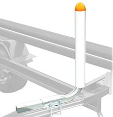 "The Tie Down Engineering Guide-On Pontoon Trailer uses bright orange capped posts to assist in easy loading of a pontoon boat. The brightly coloured caps help direct the posts directly between the pontoons. Made of 1-1/2"" square, 16-gauge steel tubing, covered by 2""x 20"" PVC pipe and, hot dip galvanized guide posts extend fully into the PVC tube for additional strength and durability of the entire kit. Mounts to trailer cross members up to 2"" wide by 2"" high. All mounting hardware is included. 241-86465"