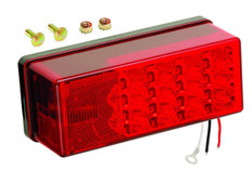 "Waterproof LED tail light meets FMVSS/CMVSS 108 requirements for trailers over 80"" wide when properly mounted Includes 3-wire plug-in harness with 12"" wire leads and 7"" ring terminal ground Stainless steel mounting hardware 8-Function, Left/Roadside Dimensions: 8"" x 2 7/8"" x 2 3/4"" 274-407535"
