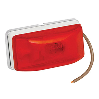 """Sonically-sealed clearance/marker lamps w/break-resistant polycarbonate lens. Pre-installed 15'' pigtail. Properly mounted (""""PC"""" rated), meets applicable DOT-108 lighting standards for clearance/marker lamps. White base. Size: Stud 2-1/8''Lx1-1/8''Hx1-1/16''D. Ear 3-5/16''Lx1-5/16''Hx1''D. 274-203234/274-203233"""