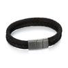 Fred Bennett Adventurer Plaited Black Leather Bracelet - 22cm - B4986