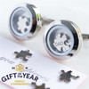 """Dad """"I Love You To Pieces"""" Cufflinks - Stainless Steel"""