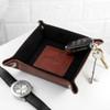 "Personalised Brown Leather Valet Tray - ""Blind"" Embossed"