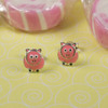 Pink Piglet Earrings Silver