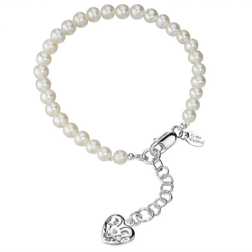 D for Diamond Pearl and Heart Charm Bracelet
