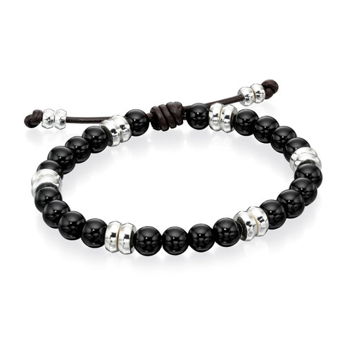 Fred Bennett Classic Leather and Onyx Adjustable Bracelet - B4569