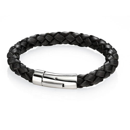 Fred Bennett Maverick Black Leather Braid Bracelet - 24cm - B4418