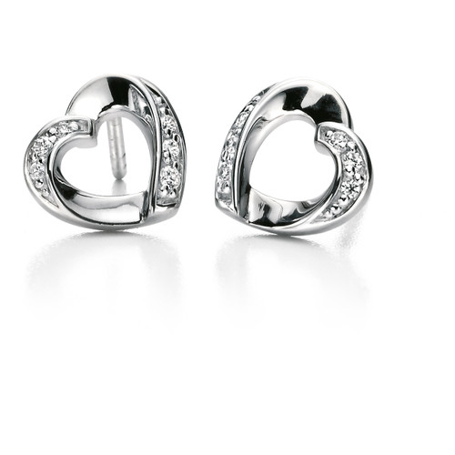 Fiorelli Cubic Zirconia Ribbon Heart Earrings