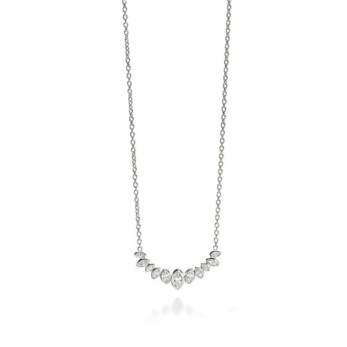 Fiorelli Clear CZ Marquise Cluster Row Necklace