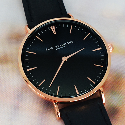 Women's Personalised Leather Watch - Black