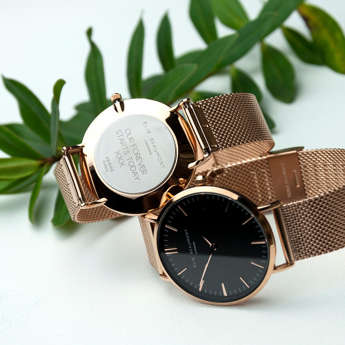 Women's Personalised Rose Gold/Black Face Watch