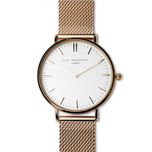 Women's Personalised Rose Gold/White Face Watch