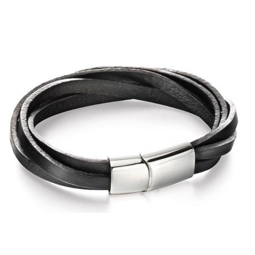 Fred Bennett Black Leather Multi Strap Bracelet - B5055