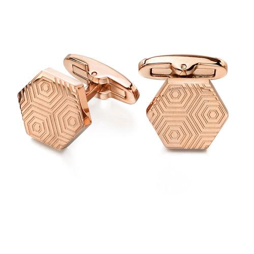 Fred Bennett Rose Gold Etched Hexagonal Cufflinks