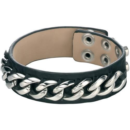 Fred Bennett Black Leather Cuff Bracelet