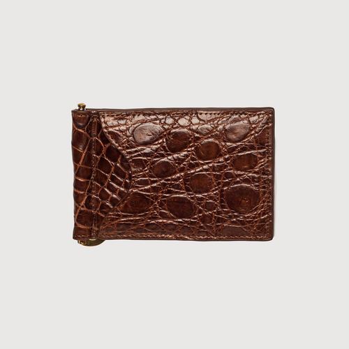 Zelli Crocodile Money Clip Cognac