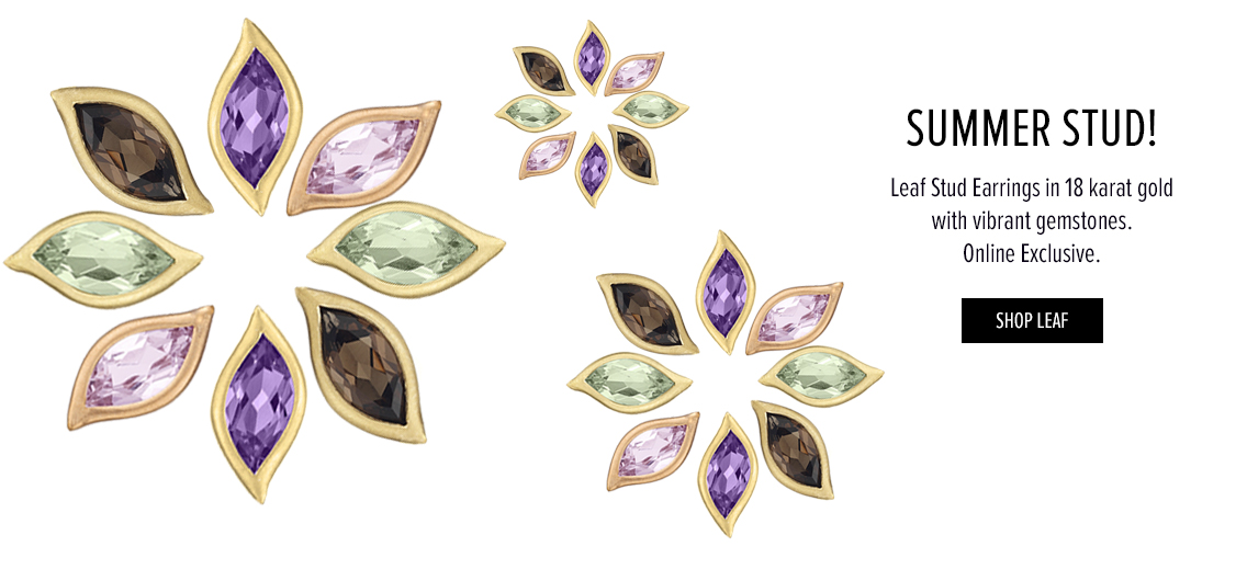 Summer Stud! Leaf stud earrings in 18 karat gold with vibrant gemstones. Online Exclusive. Shop Leaf