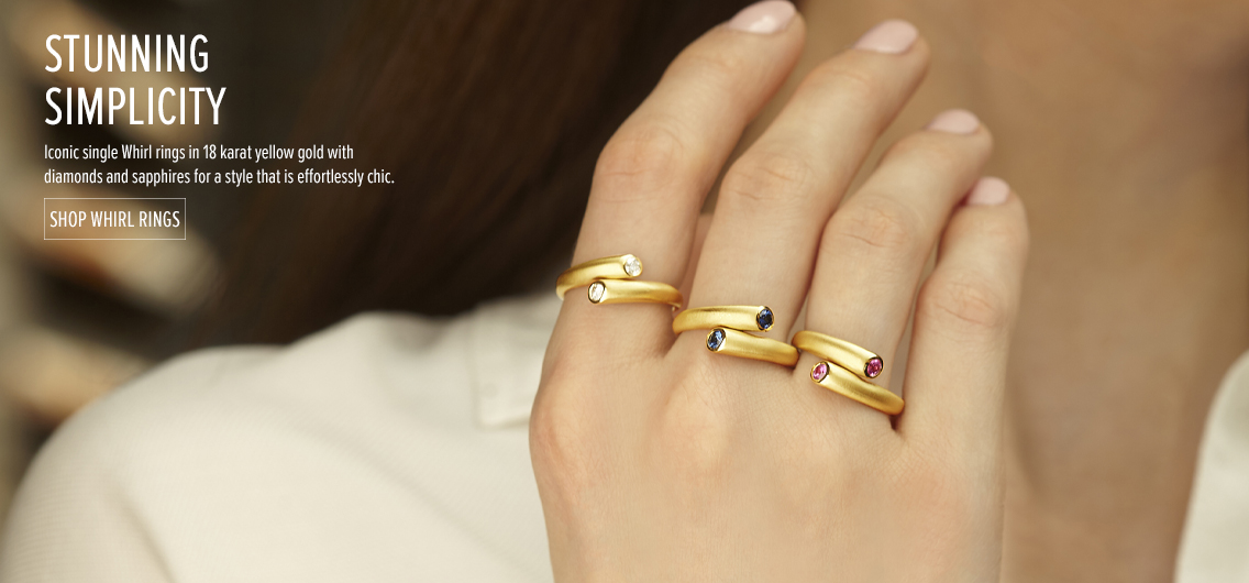 Stunning Simplicity; Iconic single Whirl rings in 18 karat yellow gold with diamonds and sapphires for a style that is efforlessly chic. Shop Whirl Rings