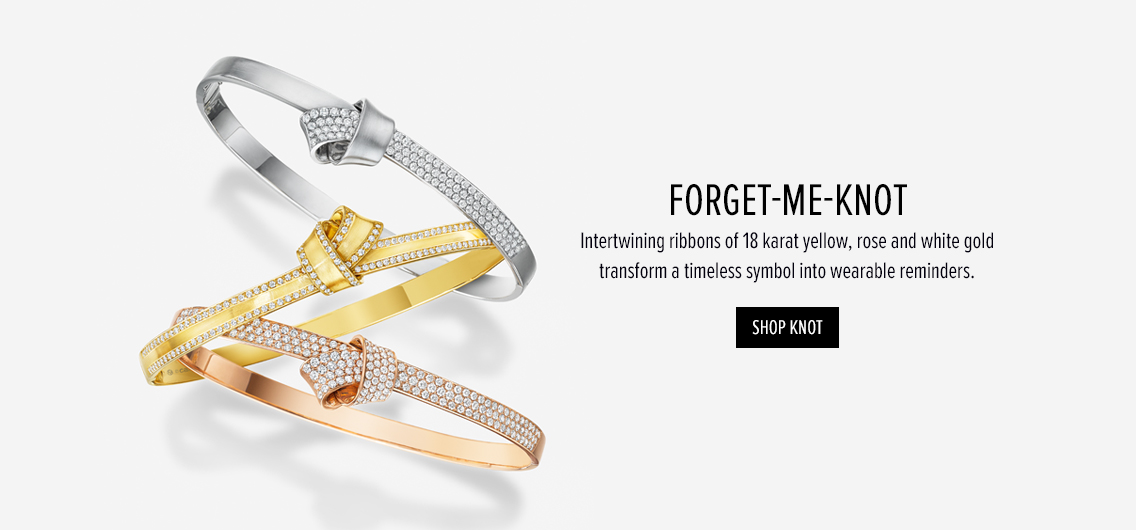 Forget-me-Knot; Interwinning ribbons of 18 karat yellow, rose and white gold. Shop knot