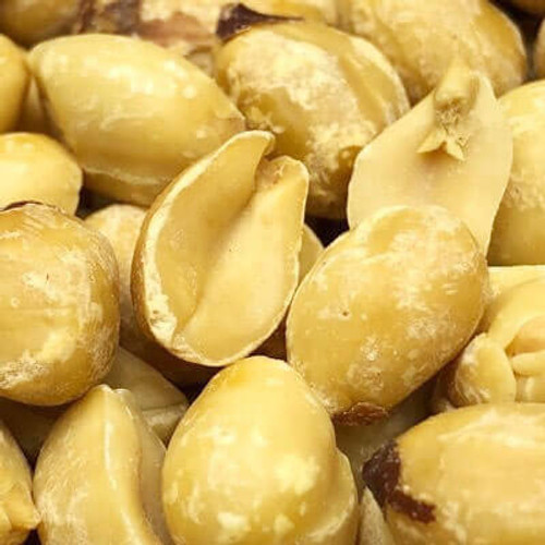 Roasted blanched peanuts. No shell. No salt added. Sold by the lb. Peanuts are roasted in natural coconut oil. Made fresh for great taste. Packed fresh for big smiles.