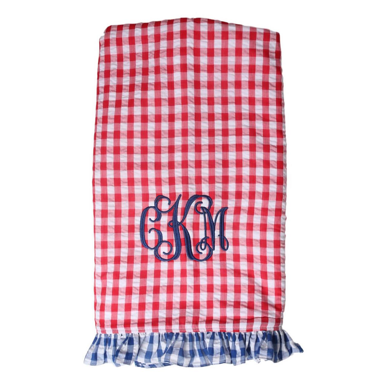 Red And Navy Check Ruffle Seersucker Beach Towel
