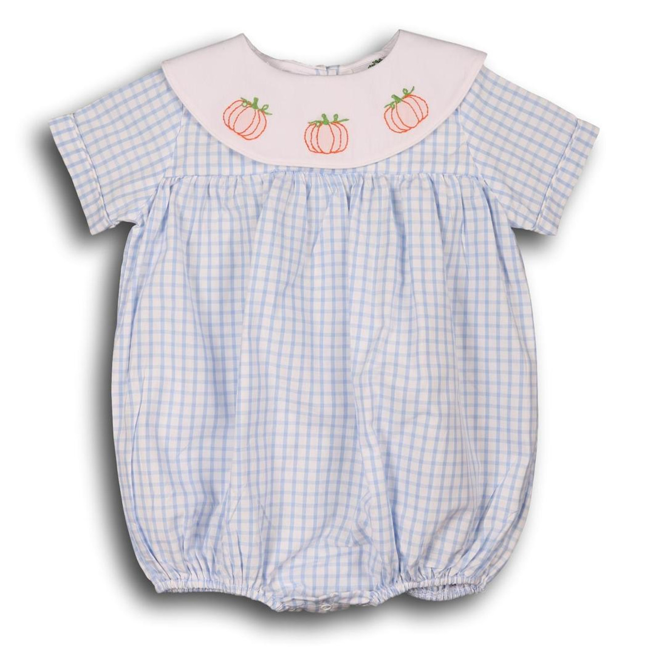 Blue Windowpane Pumpkin Boys Bubble - Smocked Threads by Cecil and Lou