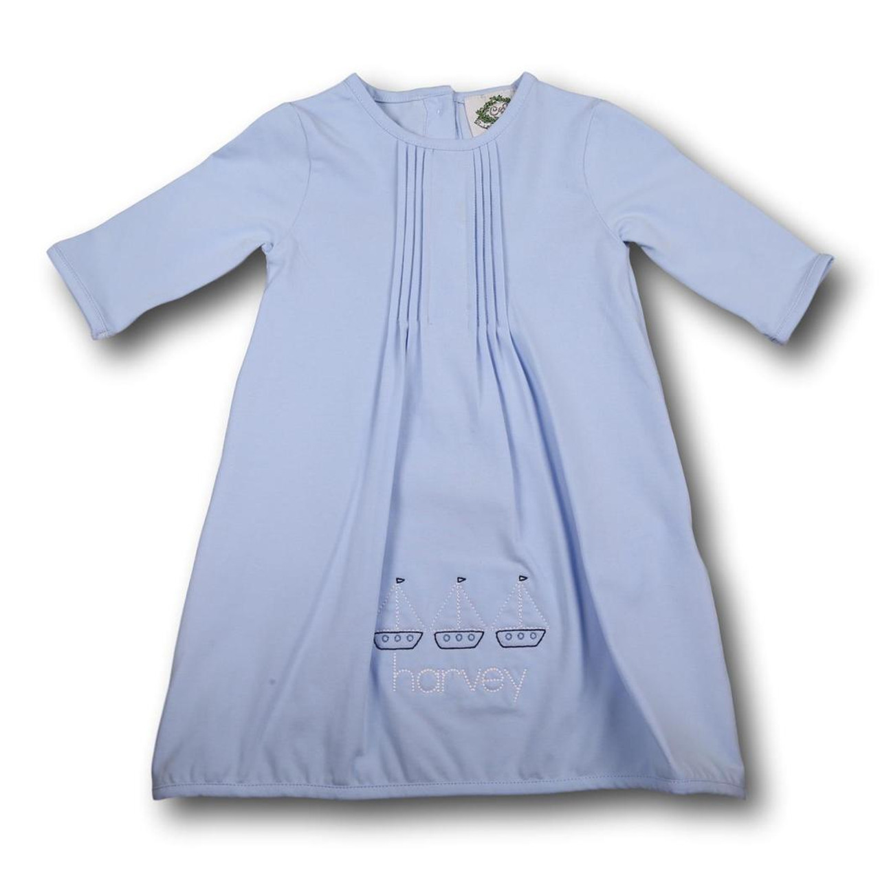 Blue Knit Layette Gown - Smocked Threads by Cecil and Lou